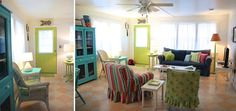 House of Turquoise: The Shrimp + Mermaid Cottages living room design