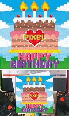 Square pixelart birthday card titled Big Birthday Cake in the