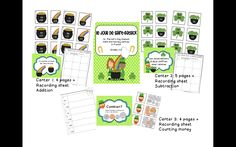 Patrick's Day Literacy and Math Centers in French Saint Patrick, Math Literacy, Literacy Centers, Counting Money, Recording Sheets, Green Day, Teacher Stuff, St Patricks Day, Student