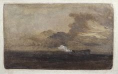 Joseph Mallord William Turner, 'Seascape with Burning Hulk' ~1828 Oil paint on muslin mounted on board