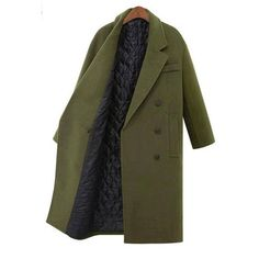 Yoins Guilted Duster Coat in Green ($88) ❤ liked on Polyvore featuring outerwear, coats, yoins, chaquetas, double breasted coat, wrap coat, green coat and duster coat