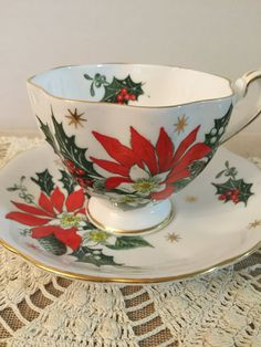 Christmas Tea Cup and Saucer Bone China by PineStreetPickers