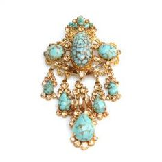 Austrian Topaz and Turquoise Brooch