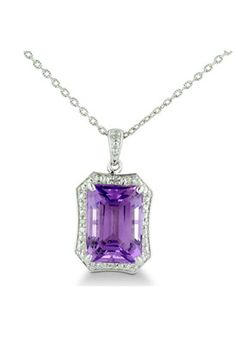 Women's Sterling Silver Amethyst and Diamond Pendant Necklace