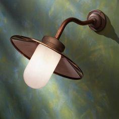 Applique Nautic QUAY LIGHT 45° cuivre rouge verre opale