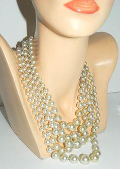 "Amazing Vintage 5 STRAND Graduated Faux Pearl Necklace 18"" Statement Multistrand #Unbranded #StrandString"