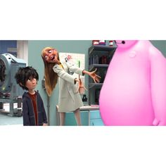 Honey Lemon: He's perfect!   Hiro: Uh.....Why is Baymax pink ?   Baymax: I have some concerns...will this pink body enhance my huggable design?