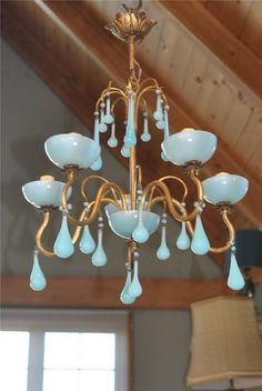 grench blue chandeliers   Fab! Vintage French BLUE OPALINE Macaroni BEADED CHANDELIER~5 Light ...
