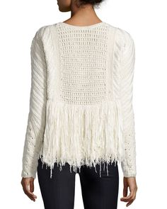 Adam Lippes Cable-Knit Sweater w/ Fringed Sides