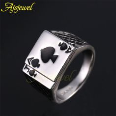 Classic men's Poker Ring 18k White Gold