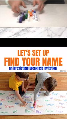 Simple indoor game for preschoolers will help with name recognition and fine motor skills. This Breakfast Invitation is an absolute hit that you must try! activities for toddlers preschool Find Your Name Preschool Name Recognition, Name Activities Preschool, Motor Skills Activities, Preschool Learning Activities, Indoor Activities For Kids, Preschool Activities, Kids Learning, Learning Games, Games For Preschoolers Indoor