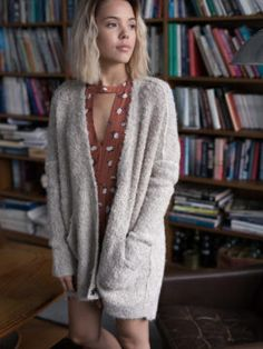 Free People Boucle Cardi #outfit #style #cardigan #freepeople #dress Free People, Autumn, Sweaters, Outfits, Dresses, Style, Fashion, Fall Season, Outfits Fo