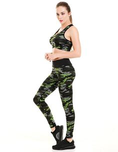 9aacdc84583cb Womens Camouflage Printed Breathable Running Yoga Workout Leggings