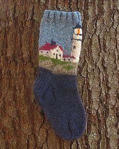 Ravelry: Lighthouse Sock pattern by Peace Fleece Intarsia Knitting, Knitting Socks, Hand Knitting, Crochet Socks, Knit Crochet, Knit Socks, Knitted Christmas Stockings, Christmas Knitting, Lots Of Socks
