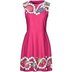 Boutique Moschino Short Dress (1,030 ILS) ❤ liked on Polyvore featuring dresses, moschino, fuchsia, zipper dress, fuchsia dress, sleeveless dress, short sleeveless dress and pink mini dress