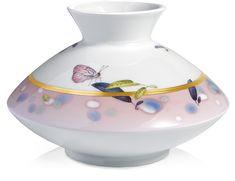 Vase, 'Blatt-tonisch', purple, butterflies, coloured, gold band, lim.,num., H 14 cm