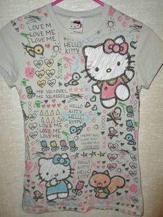 Hello Kitty Gray T Shirt Graffiti Print I Heart You Squirrel Size Large