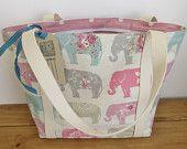 Handmade Zip Fabric Tote Bag Elephant Tote Bag Lined Fabric Tote Bag Summer Bag Knitting Bag
