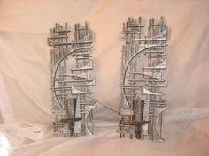 2 Vtg Burwood Abstract Brutalist Wall Sculpture Sconce Candle Holders 15 inch Seller florasgarden on ebay