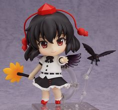 **The Tengu reporter always rushing around Gensokyo!**  From the popular game series by Team Shanghai Alice, the 'Touhou Project' comes a Nendoroid of Gensokyo's resident Tengu reporter, Aya Shameimaru! She comes with three different expressions including a standard expression, a smiling expression and even the popular 'Take it easy!' expression! Optional parts include her leaf fan and a tornad...