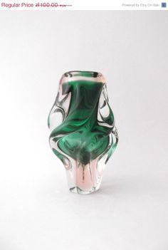 Chribska Josef Hospodka 1960s  spiraling green glass vase by CzechGlassCollector, zł90.00