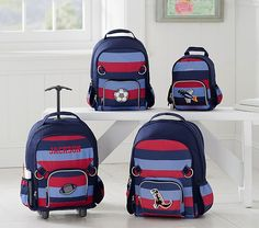 Fairfax Navy Multi Stripe Backpack | Pottery Barn Kids