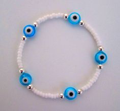 Evil Eye Bracelet, Beaded Bracelet, Seed Bead Bracelet, White Beads, Minimalist Jewellery, Miyuki Beads, Delica Beads