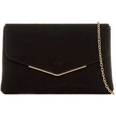 Envelope Clutch Bag by Koko Couture (£20) ❤ liked on Polyvore featuring bags, handbags, clutches, black, envelope clutch bag, chain handle handbags, envelope clutch, chain-strap handbags and chain strap purse