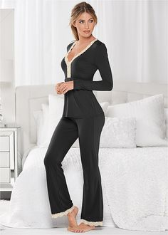 Lace Trim Pajama Set from VENUS women's swimwear and sexy clothing. Order Lace Trim Pajama Set for women from the online catalog or Sleepwear Women, Pajamas Women, Satin Pyjama Set, Pajama Set, Mode Ulzzang, Womens Pyjama Sets, Cute Pajamas, Pyjamas, Lingerie Set