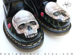 600256c87ee Custom Painted Rose Doc Martens Boots - Hand Painted Flowers Boots - Custom  Flower Doc Martens