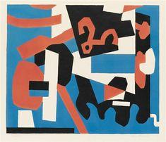 Artwork by Stuart Davis, Detail Study for Cliché, Made of Color lithograph
