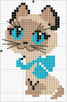 Free Cat Cross Stitch Chart or Hama Perler Bead Chart