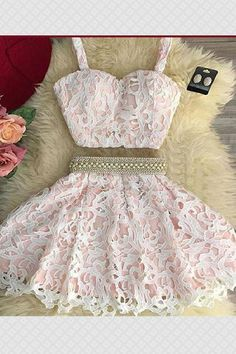 Hot Sale Comfortable Homecoming Dresses Two Piece Cute Pink Two Pieces Lace Short Prom Dress, Pink Homecoming Dress Two Piece Homecoming Dress, Prom Dresses Two Piece, Lace Homecoming Dresses, Hoco Dresses, Pretty Dresses, Sexy Dresses, Beautiful Dresses, Beaded Dresses, Two Piece Short Dress
