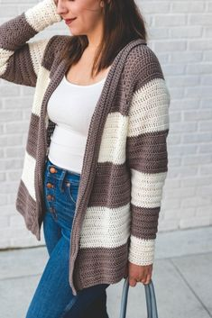 This adult sized slouchy stripe crochet cardigan simple and quick to make. It's lightweight for layering through all four seasons and the oversized fit is worked right into the pattern for you! Crochet Cardigan Pattern, Knit Crochet, Crochet Patterns, Crochet Sweaters, Crochet Ideas, Crochet Projects, Crochet Slippers, Crochet Tutorials, Crochet Tops