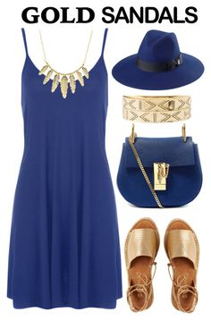 """""""#goldsandals"""" by kate-rattigan ❤ liked on Polyvore featuring Kaanas, Chloé, San Diego Hat Co., WearAll, Charlotte Russe and goldsandals"""