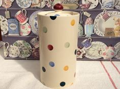 EMMA BRIDGEWATER . rare original Tall 2 pint STORAGE JAR Polka Dot .  spongeware