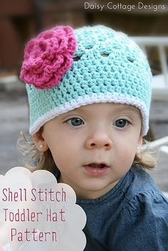 Free Crochet Pattern {Shell Stitch Toddler Hat} by Daisy Cottage Designs, via Flickr