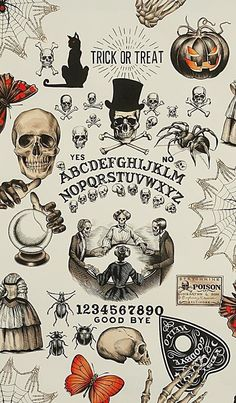 Alexander Henry Fabric Cotton Haunted House Seance Skulls Skeletons Blocks Quilt Wall Hanging Afghan Pillows Sewing Crafting Sold BTFQ - Products to Look for - Halloween Witchy Wallpaper, Fall Wallpaper, Wallpaper Backgrounds, Iphone Wallpaper, Fröhliches Halloween, Halloween Tattoo, Vintage Halloween, Halloween Skeletons, Halloween Fabric
