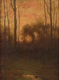 """Woodland Landscape at Sunset."" Charles Warren Eaton, oil on canvas, 12 x 9"", private collection."