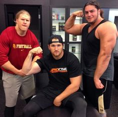 Clay Matthews with brother Casey and teammate Dave Bakitari