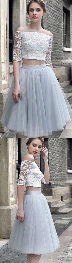 Two Piece Prom Dresses, Blue Prom Dresses, Light Blue Prom Dresses, Off The Shoulder Prom Dresses