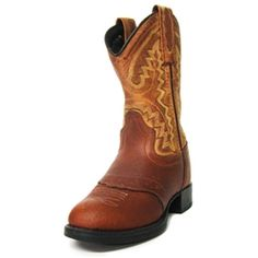 Old West Cowboy Boots Children//Youth Broad Square Toe Brown BSC1807//BSY1807