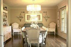 grey and white dining room   gorgeous white, grey, shimmery dining room. So ...   Dining Rooms