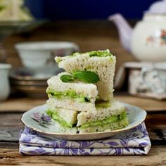 Dill, mint, cucumber and avocado tea sandwich