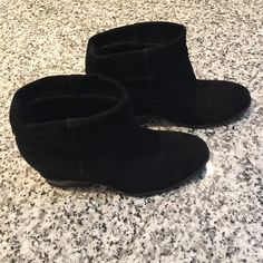 Franco Sarto suede ankle booties Franco Sarto suede ankle booties - there's a small wedge inside of the shoe. Super comfy. Looks great w skirts/ leggings / jeans. no trades Franco Sarto Shoes Ankle Boots & Booties