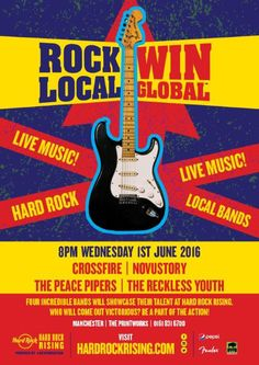 Join us on Wednesday 1st June for our ROCK LOCAL/WIN GLOBAL music showcase! Four bands will perform on the Rock Stage to determine who will represent Manchester in the global final! #ThisIsHardRock #HardRockRising