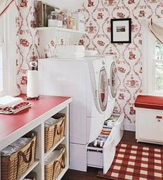 Laundry room wallpaper + drawers