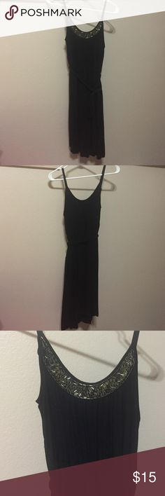 Black dress with beads Super soft, cute dress that ties around waist. Beading along neckline, adjustable straps. Worn once. Smoke free home. a.n.a Dresses