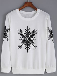 Romwe Round Neck Snowflake Print Sweatshirt