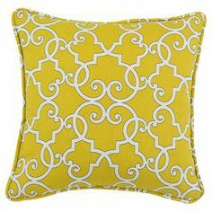 "Cotton pillow with an ornate trellis motif. Made in the USA.  Product: PillowConstruction Material: Cotton cover and polyester fiber fillColor: Yellow and whiteFeatures:  Insert includedZippered closure  Made in Council Bluffs, Iowa Dimensions: 17"" x 17""Cleaning and Care: Spot clean"